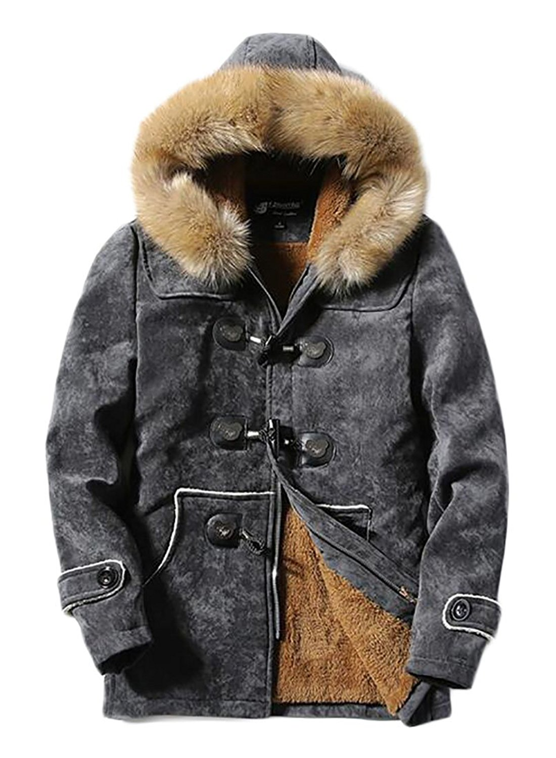 ONTBYB Womens Casual Faux-Fur Collar Parka Quilted Thicken Zip Down Jacket Coat