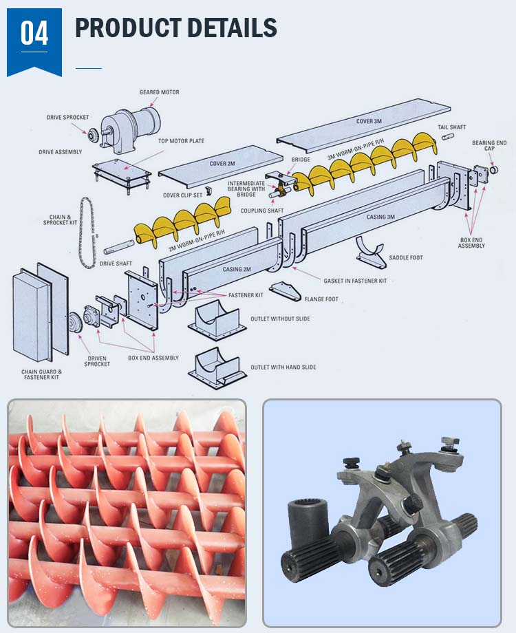 Movable Small Type Tube Shaft Screw Conveyor for Sawdust