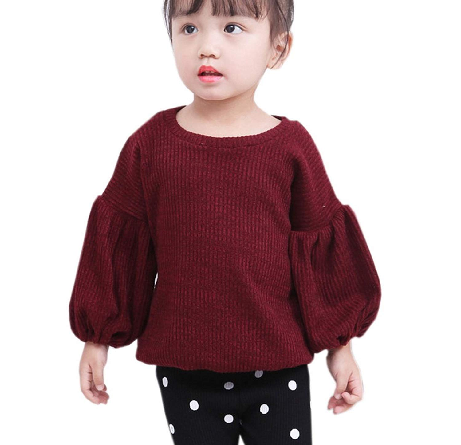 53f1ce8535e Get Quotations · Vokamara Casual Top Wine Red Lantern Sleeve T Shirt for  Toddler Girls