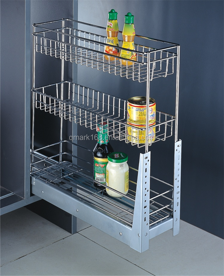 Metalen keukenkast trek draadmanden lades keuken staal manden prijzen met drie tiers - Keukenkast outs ...