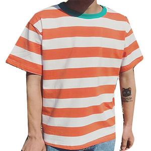 Wholesale striped t-shirt men Lightweight Hip Hop curved hem tee Hipster summer fashion custom logo Blank Striped T-shirts