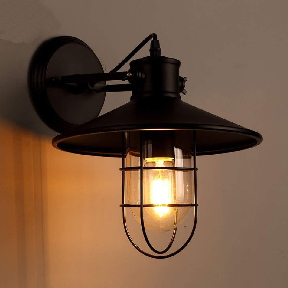 Baycher Vintage Edison Industrial Loft Iron Metal Rustic Wall Light Wall Lamps Retro Industry Small Cage Shape Wall Sconce With E27 Socket For House Bar Restaurants Coffee Shop Club Decoration