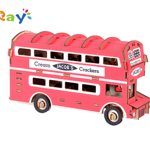 2019 Customerzied Double-decker Bus 3D Wooden Assembly Kits Handicraft artcles