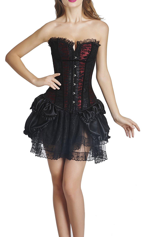 e3153b2c0bc9 Get Quotations · Blidece Women's Vampiress Corset Overbust Steel Boned  Bustier Waist Cincher Skirt