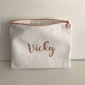 Hot sell small cotton canvas zipper pouch with rose gold logo