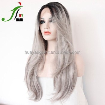 d2ddeae46 Brazilian Full Lace Wig Ombre Two Tone #1b/gray Front Lace Wig Silky  Straight