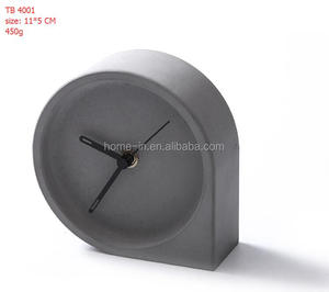 Small table clock Silent mechanism Fluent running clock hands Concrete Desk clock