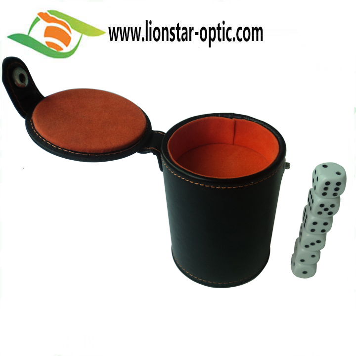 2020 Hot Selling PU Leather Velvet Dice Cup Set with 6 Dot Dices