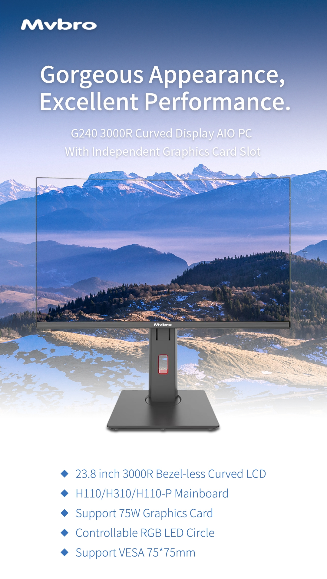 2019 latest new all in one pc model Curved Display 3000R aio desktop Computer for game