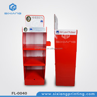 Best Price Factory Supplier 3 tiers shelves lcd cardboard floor display in store stand
