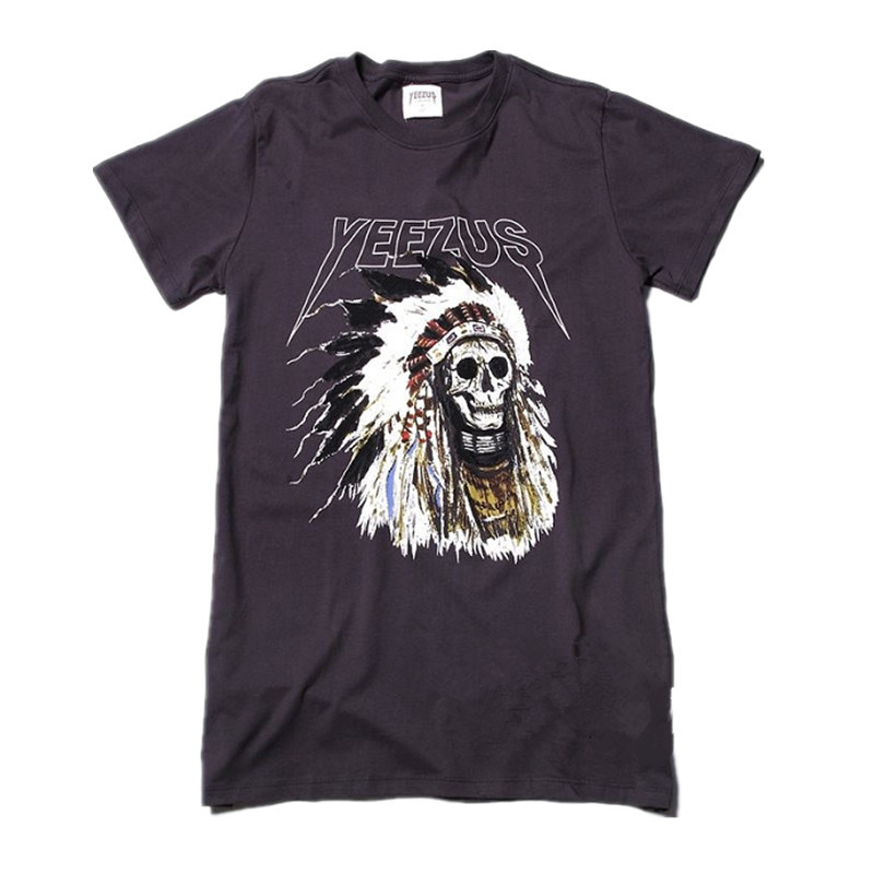 707e739d369 Buy Camiseta Authentic Kanye west Yeezus Tour yeezy Merch Indian Headdress  Skull Dark Grey red letters t-shirt t shirt tee in Cheap Price on  Alibaba.com