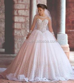 396e34eb74a 2017 Luxury Crystal Peals Princess Wedding Dress Bridal Gown Arabic Wedding  Ball Gown