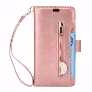 buy online a4cc4 2ca6d Rose Gold 10 Card Sots Zipper Wallet Purse Cover Case For Samsung Galaxy S9  Vintage Leather Flip Handbag Stand Holder Phone Bag - Buy S9 Wallet Cover  ...