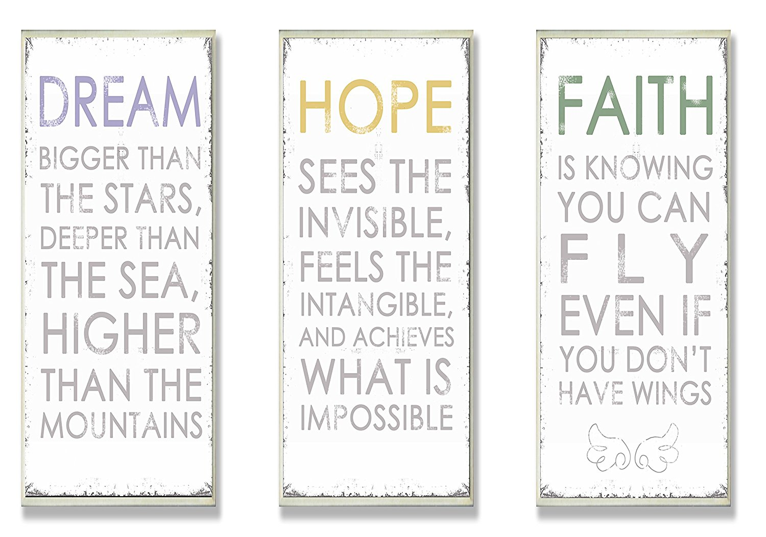 """The Stupell Home Decor Collection Trio """"Dream"""" """"Hope"""" and """"Faith"""" Inspirational Wall Art Plaques Mounted on Wood"""