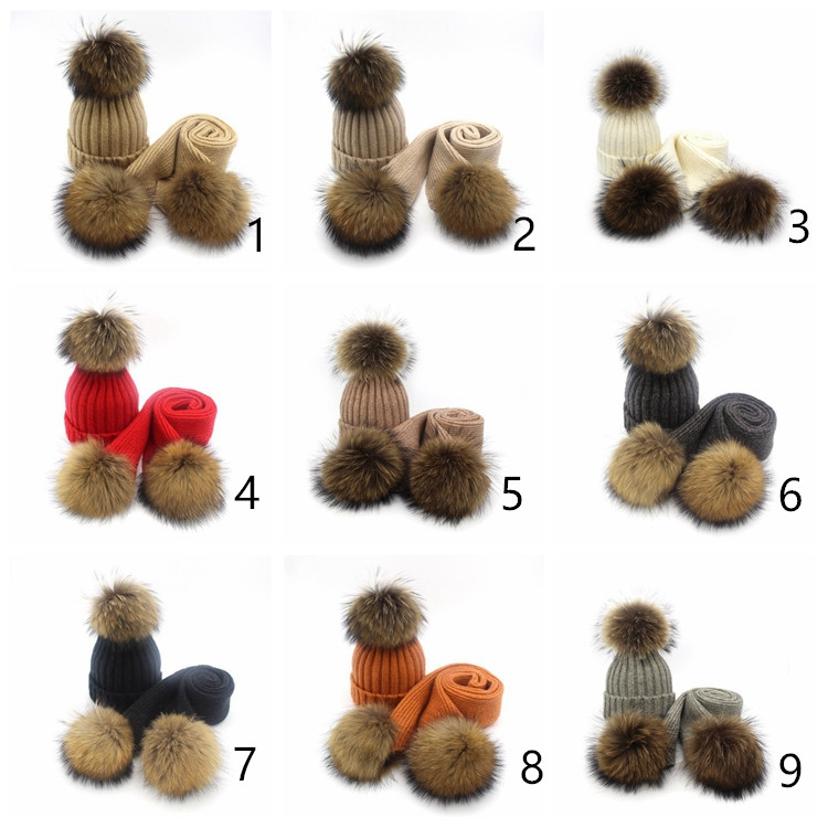 Wholesale raccoon fur pom pom blend cashmere beanie hats