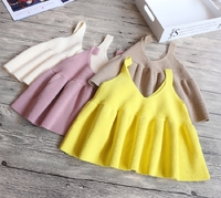 2-7 years New 2017 Wholesale Summer Solid Color Kids Girls Tops