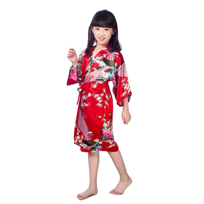 09bb337369 Get Quotations · Minibaby Kids  Soft Bathrobe Little Girls Kimono Robe  Peacock Blossom Sleepwear Comfortable Loungewear(Red)
