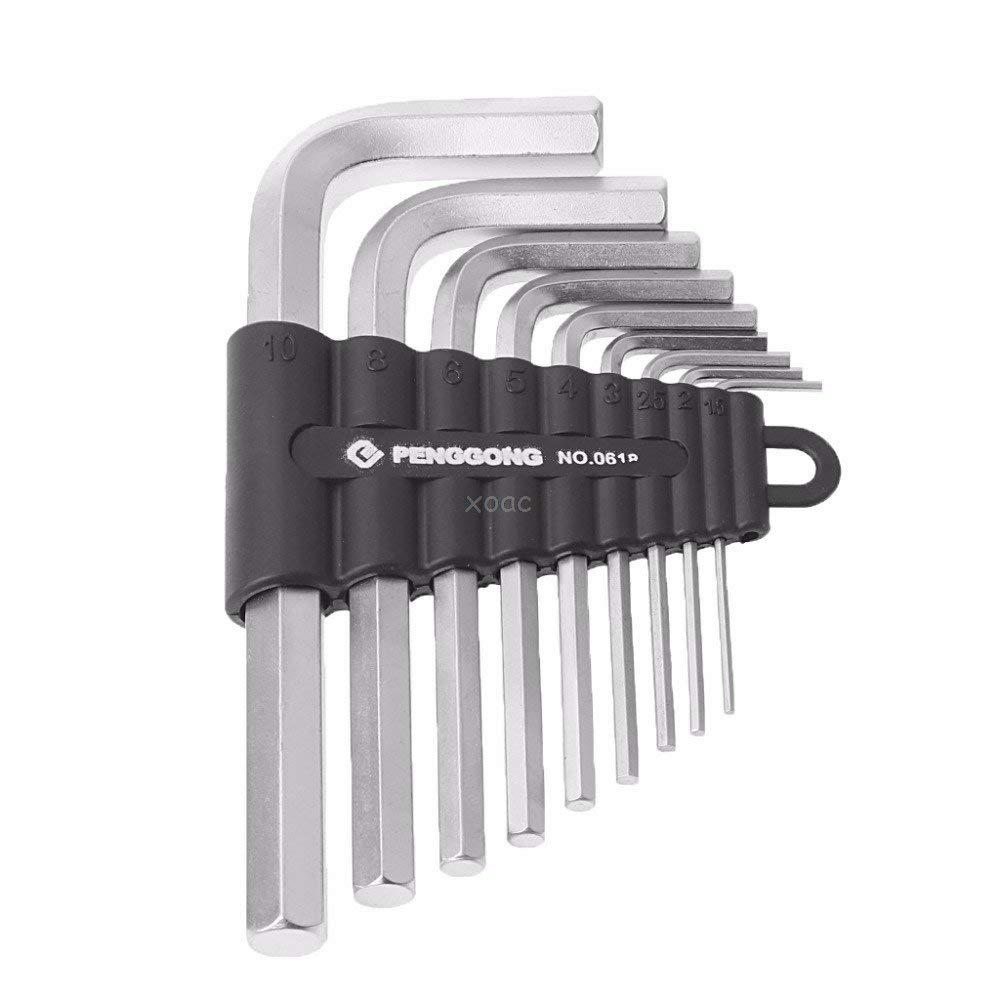 KINWAT 9Pcs/Set 1.5mm-10mm Hexagon Hex Allen Key Wrench Kit Spanner Repair Hand Tools May08 Dropship