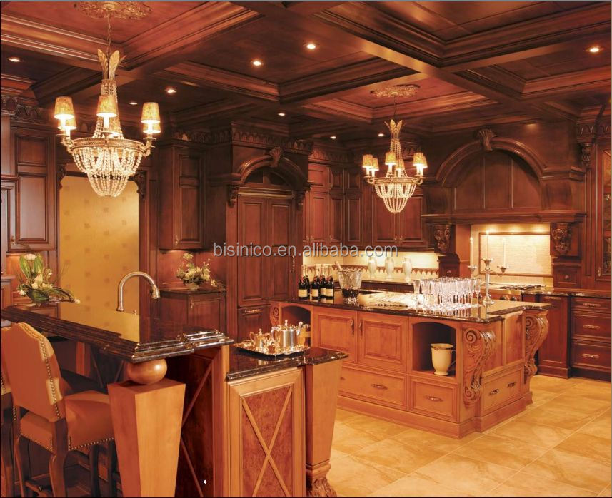 Bisini Luxury European Style Hand Carving Solid Wood Kitchen