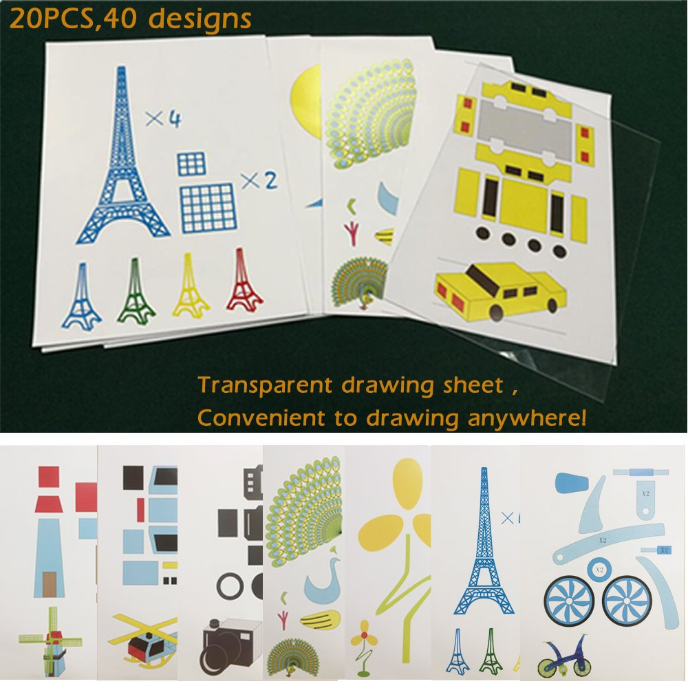 Ipeson Creative 3D Printing Pen Picture Drawing Paper Mould Cartoon DIY Children Gift Toy 20pcs,40 Designs