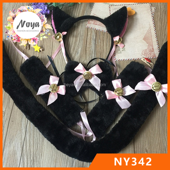 Cosplay Party Dress Up Plush Fluffy Cat Ears Fabric Hairband Cat