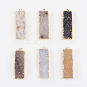 G0891 18K Gold natual druzy bar pendant necklace jewelry