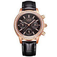 Relogio feminino Для женщин часы LIGE Элитный бренд девушка кварцевые часы Повседневное кожа женская одежда часы Для женщин часы Montre Femme(Китай)