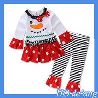OEM Christmas ruffle bubble autumn outfits children wears