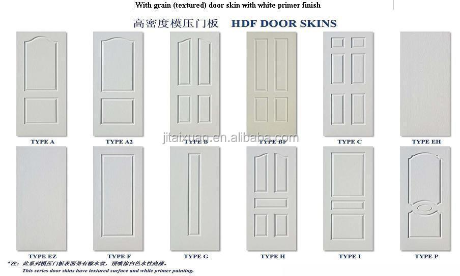 White primer HDF skin door hdf molded door price