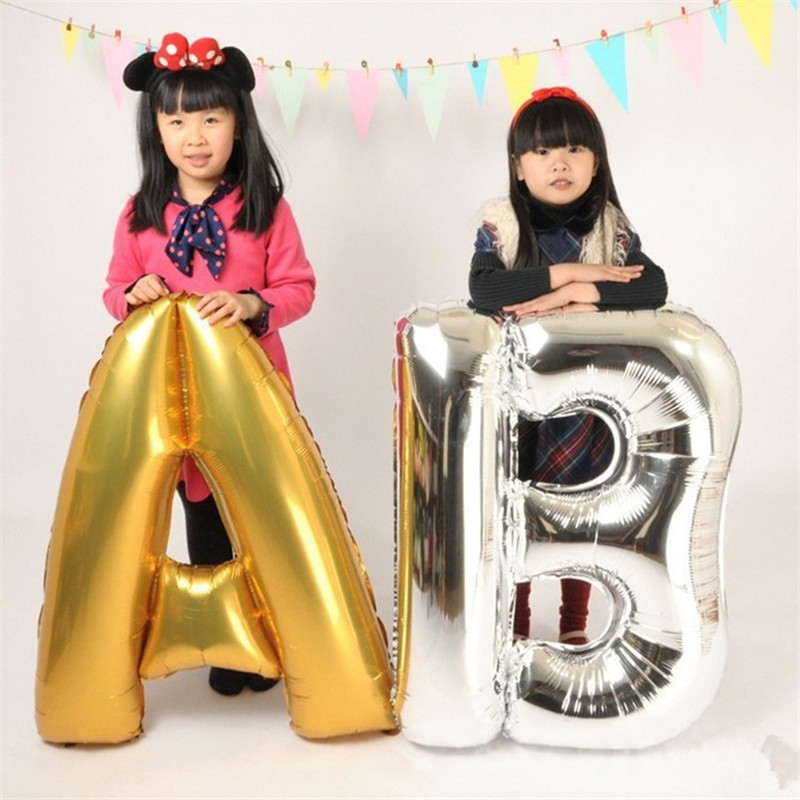 Large 40 inches Gold Silver Letters Foil Balloons Accessories Birthday Wedding Decoration Helium Balloon Party Supplies