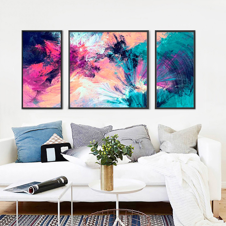 Abstract Art Oil Painting with Wooden Picture Frame for Room Decoration