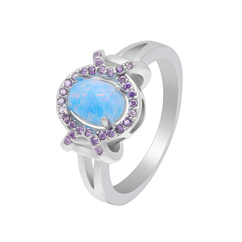 Hainon Fancy Blue Stone Opal Silver Ring Design Wholesale Romantic