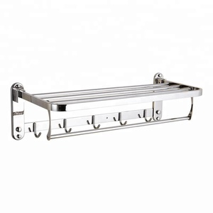304 Stainless steel folding towel racks with hooks Multifunctional bath towel rack
