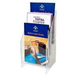 """Marketing Holders - Pack of Five (5) - Clear Acrylic 3-Tiered, 3-Pocket Brochure holder for 5.5""""w Literature"""