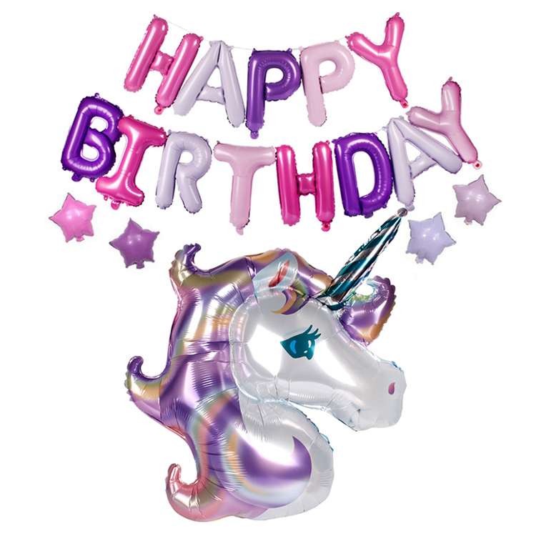 FENGRISE Birthday Party Decorations Kids Unicorn Foil Balloons Happy Birthday Letter Balloons