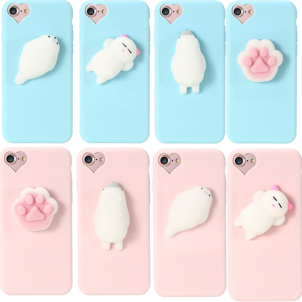 Cute Squishy 3D Soft Silicone Cat Bear TPU phone case For iPhone X 8 8 plus 7 7 plus