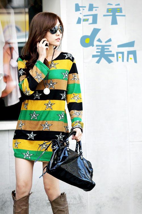 Осень футболки женщины длинный рукав полоска звезды печать женщины t рубашка свободного покроя без тары подросток девочки футболки