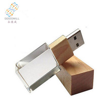 3d Logo Inside Crystal Wood Usb 2.0 Flash Drive