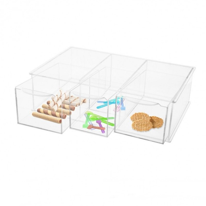 Countertop Rectangle Clear Acrylic Food Sundries Box Bin with 3 drawers
