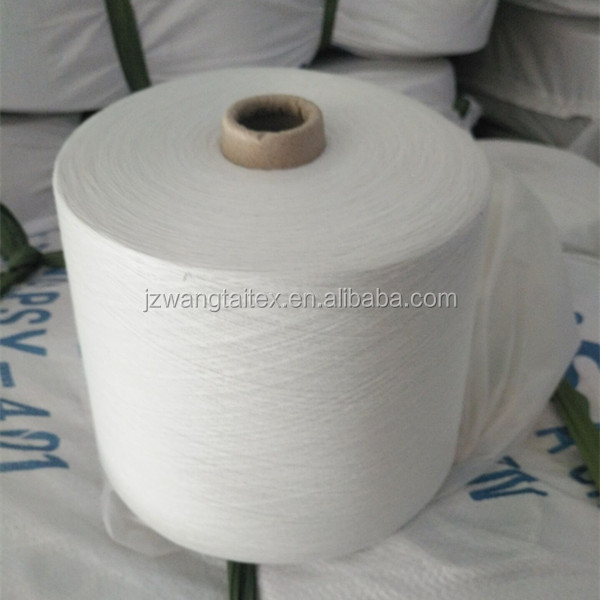 100% polyester spun yarn weaving fabric use ,yarn count 40s/1 non virgin yarn for knitting