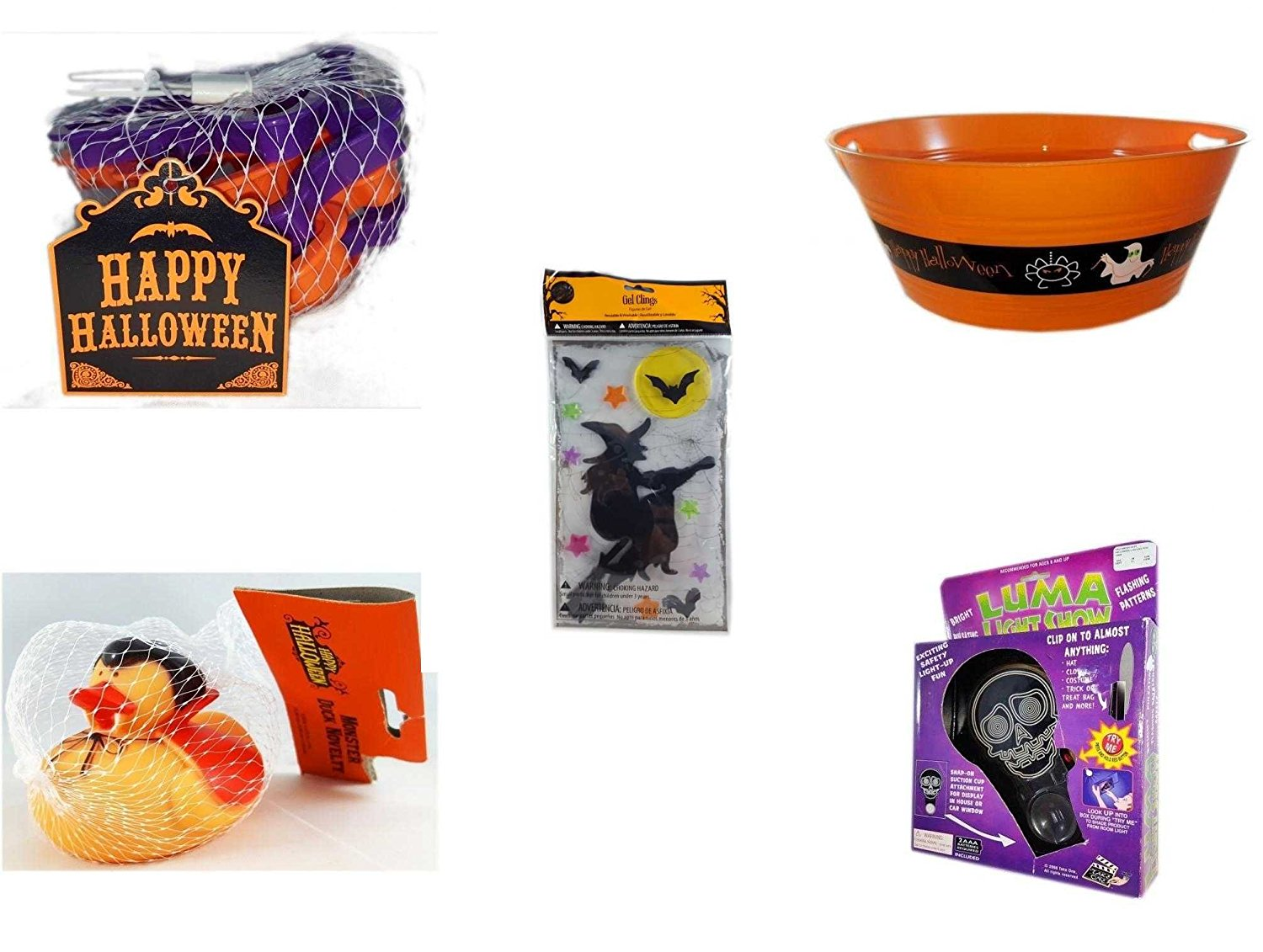 "Halloween Fun Gift Bundle [5 piece] - Wilton 6-Piece Halloween Cookie Cutter Set - 17.75 Inch Orange ""Happy Halloween"" Party Tub - Gel Clings Witch, Bats, Stars - Happy Halloween Monster Duck Novel"