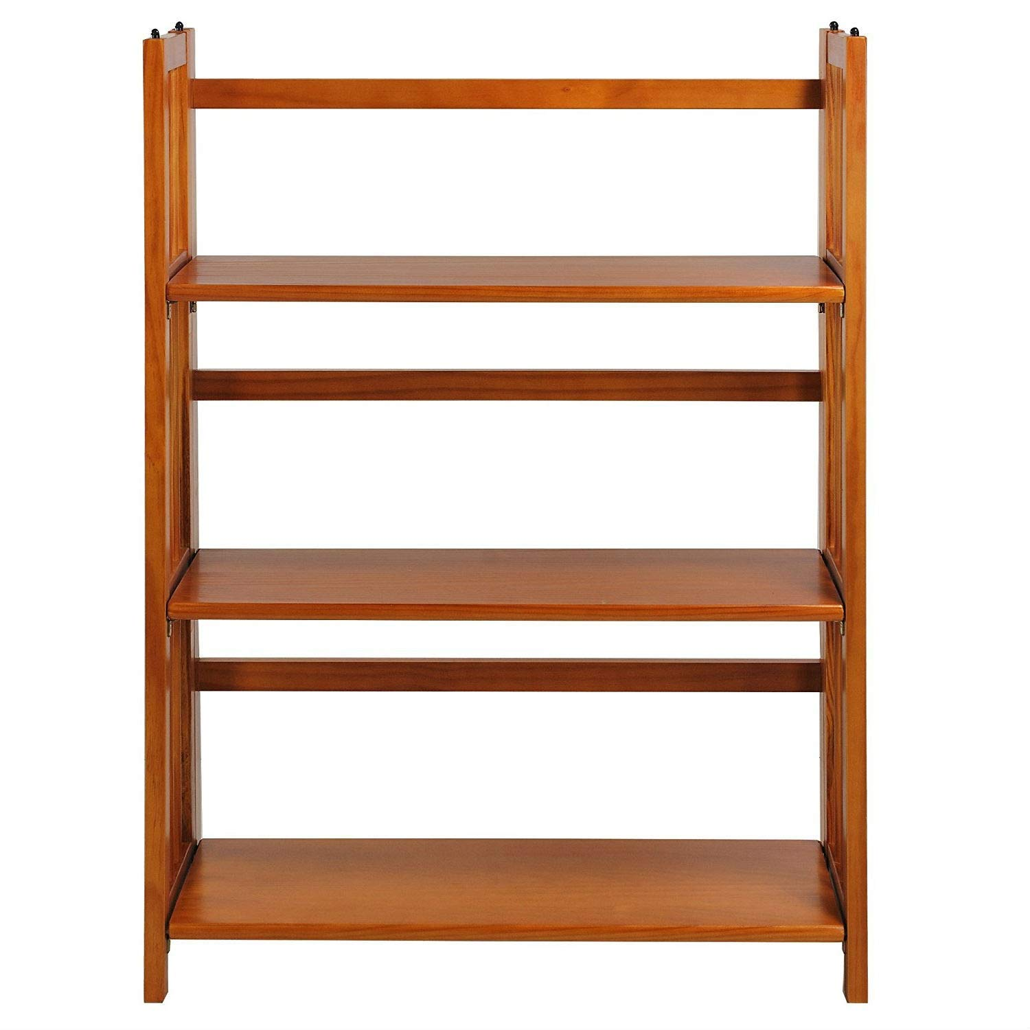 Trustpurchase 3-Shelf Folding Storage Shelves Bookcase in Honey Oak Finish, has A Classic Styling and There is No Assembly Required, A Great Addition to Your Home