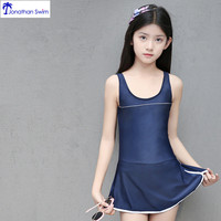 Custom 2019 soild color young girl swimsuit one piece swimwear dress
