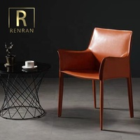 Italian design elegant latest contemporary comfortable accent furniture office metting room full saddle leather dining chair