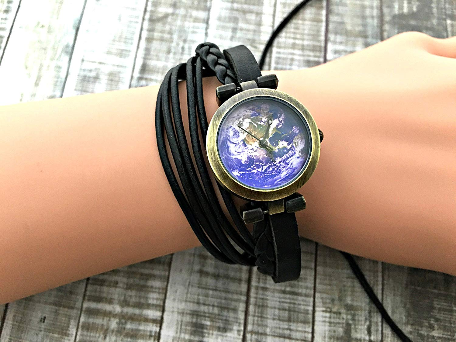 Earth Wrap Bracelet Leather Watch, Leather Wrap Bracelet Watch, Leather Wrap Art Watch, Vintage Retro Wrap Bracelet Watch, Wrap Genuine Leather Watch 017
