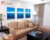 Decorative Art Set Blue Sea and Sky Scenery 3 Panel Canvas Painting