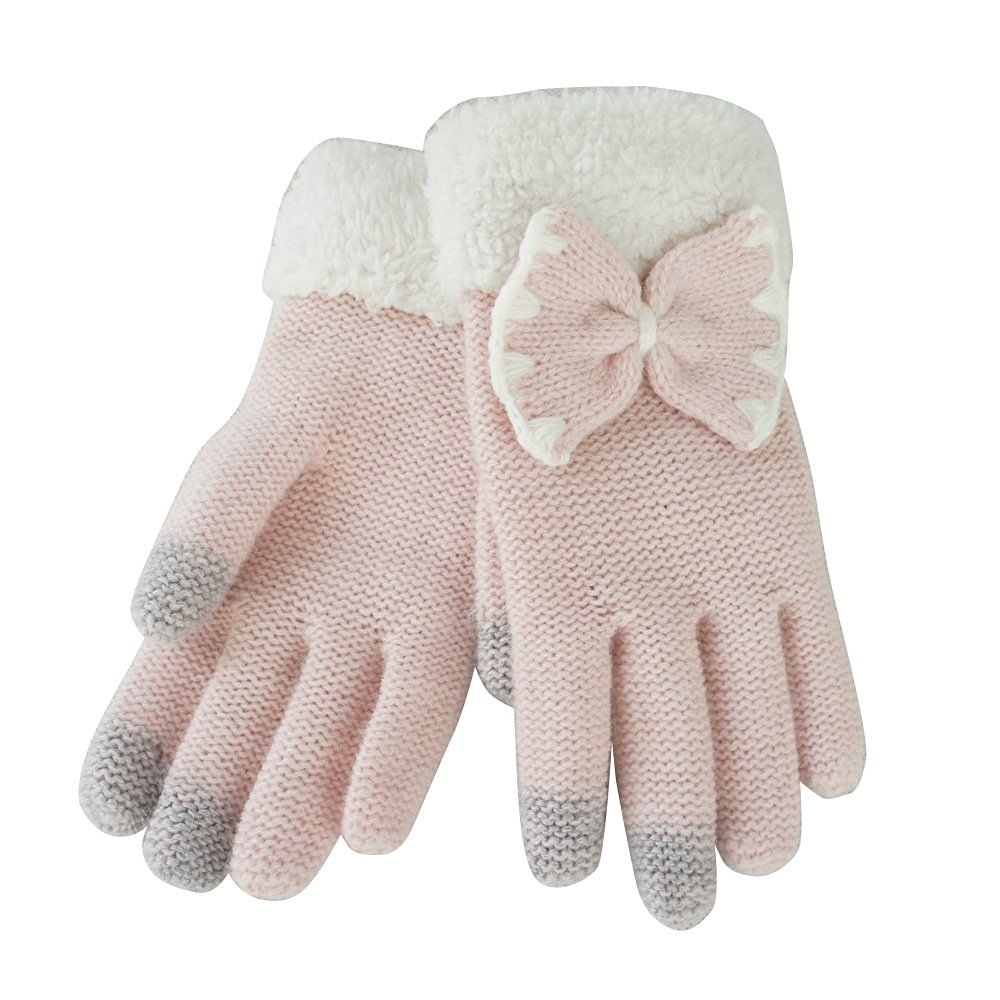 Yakamoz Magic Knit Girls Women Lovely Chic Bowknot Smart Touch Screen Winter Winter Warm Gloves for Iphone Ipad Smart Phone with Free Stylus Pen (Pink)