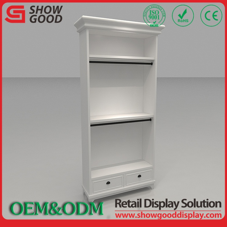Fast Delivery Modern Wall Wood Showcase Designs for Garment Shop interior design