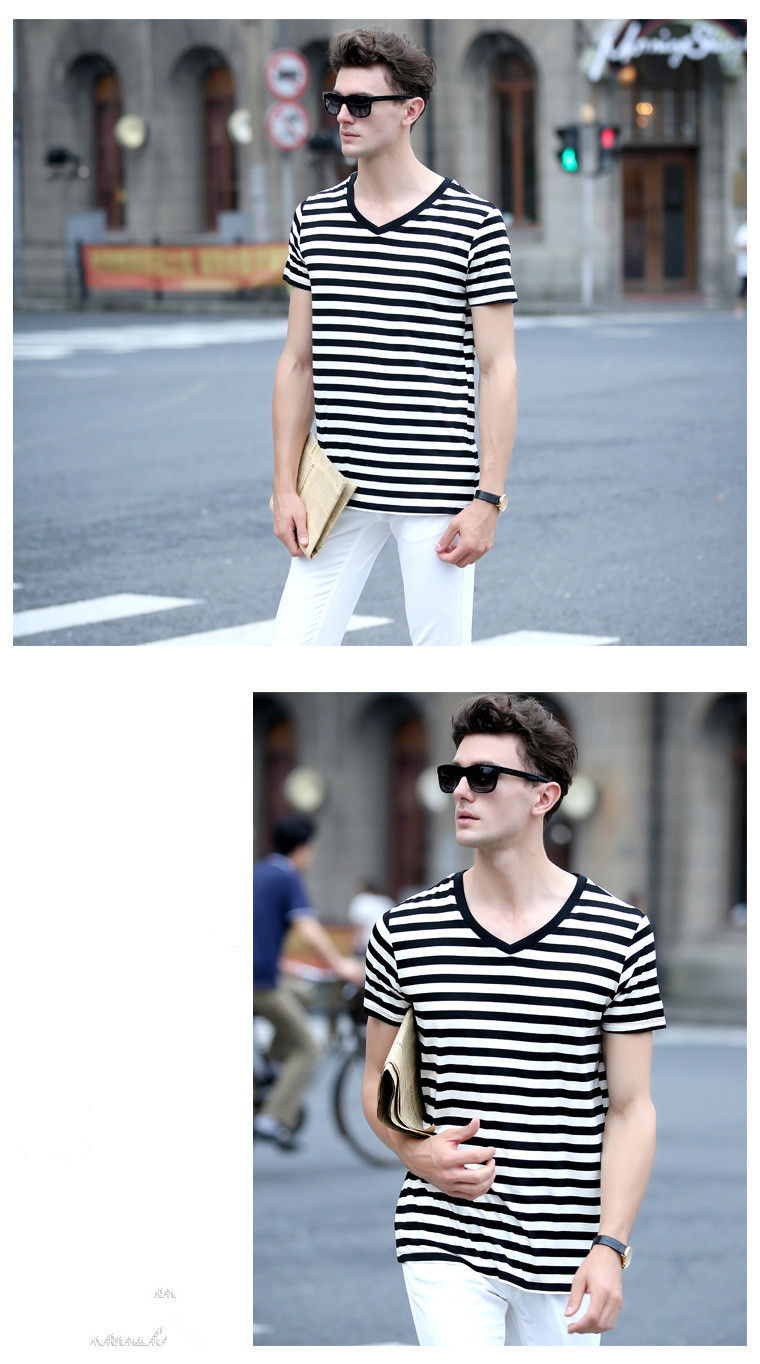 Black t shirt v shape - Wholesale Fashion Short Sleeve Black White Striped V Shape T Shirts Men