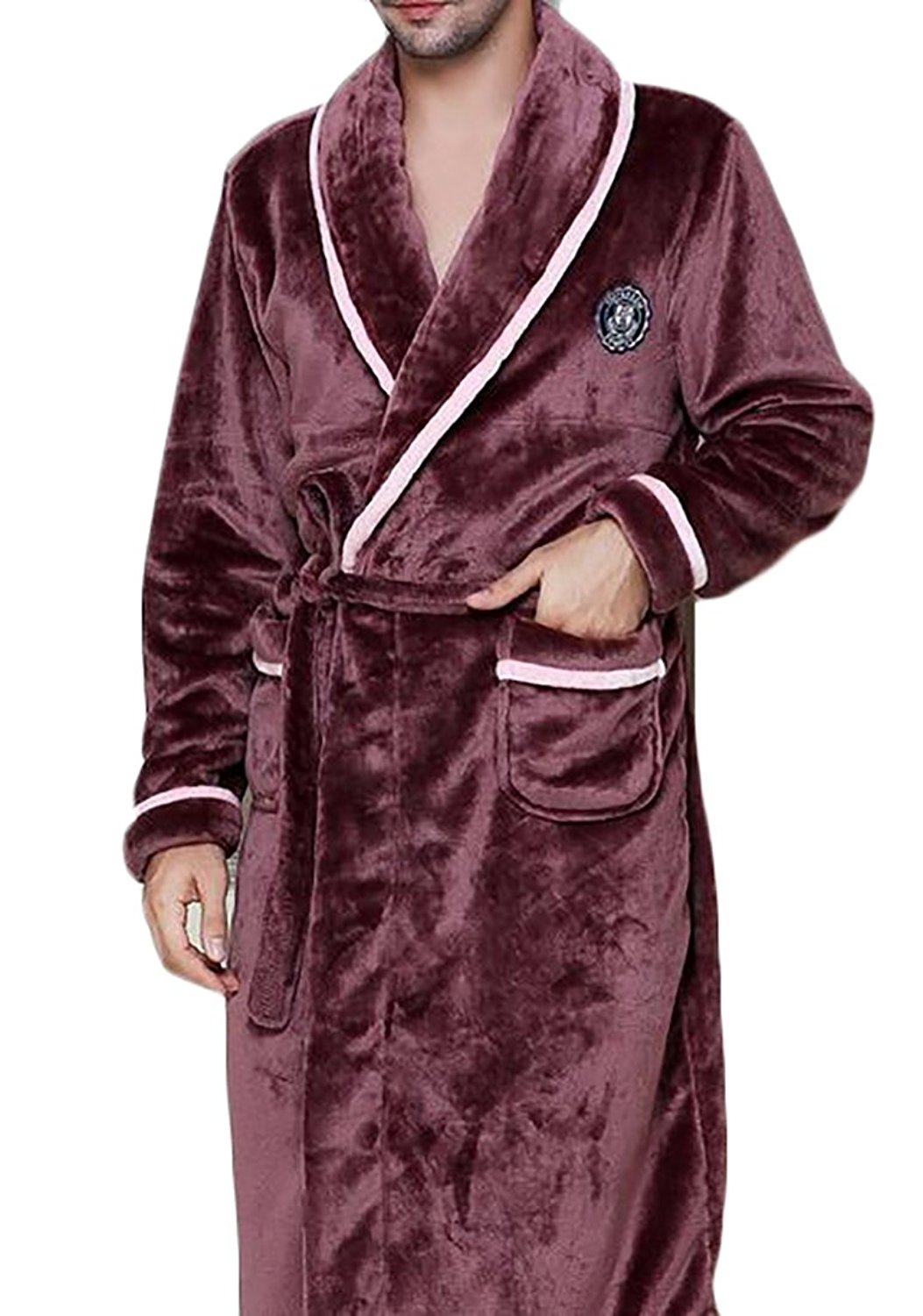 Get Quotations · Fulok Mens Winter Warm Homewear Belted Flannel Solid  Sleepwear Lounge Robes 743523ab5